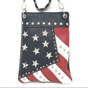 Handbags - Leather Western Cross Body Bags American Flag
